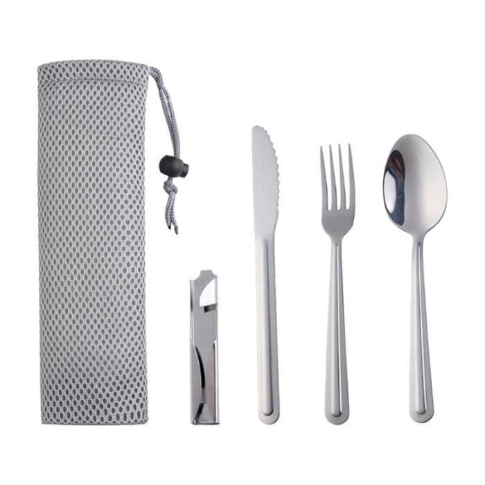 1set Camping Fourniture Vaisselle En acier inoxydable Couverts de vaisselle pour la outillage de camping camping - camp de base