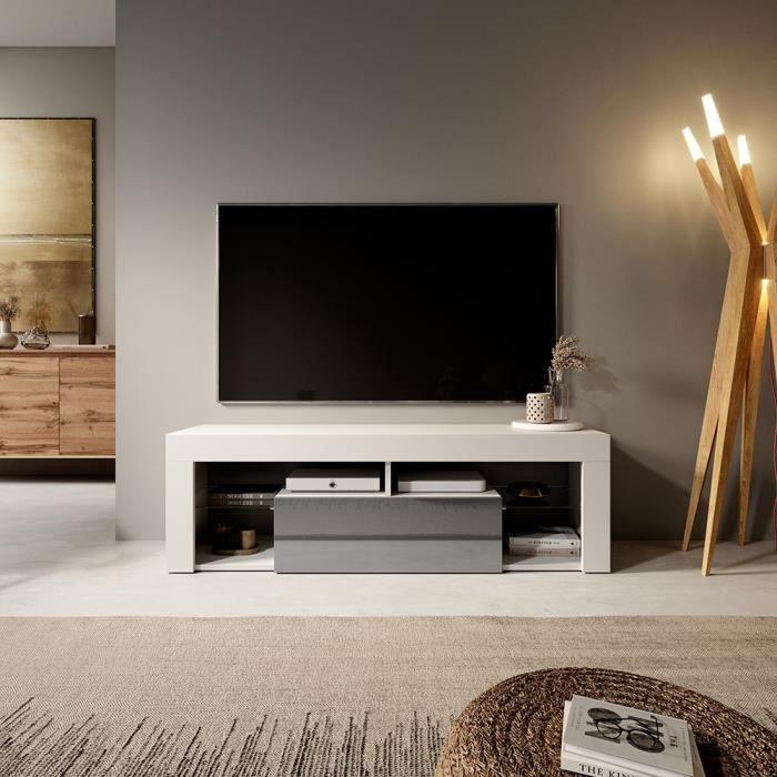 Meuble TV / Banc TV - BIANKO - 140 cm - blanc mat / gris brillant - sans LED - style moderne - tablettes en verre