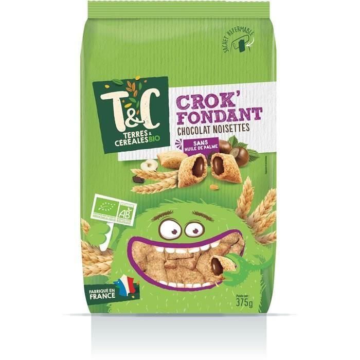 LOT DE 4 - TERRES ET CEREALES Crok' Fondant Céréales fourrés au chocolat noisette bio 375 g