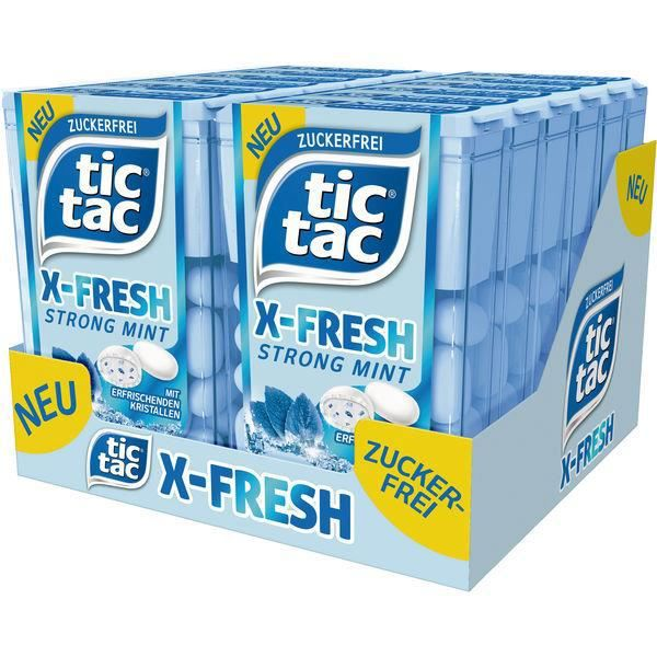 Ferrero Tic Tac X-Fresh Strong Mint (Sans Sucre) 16,4g (Pack de 24)