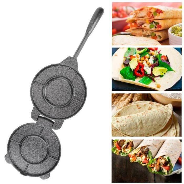 DDN31241-DILWE-Fabricant de Presse à Tortilla 6.5 po Cuisine Outil de Pressage de Pâte à Tortillas de Maïs en Fonte Gris-LAT