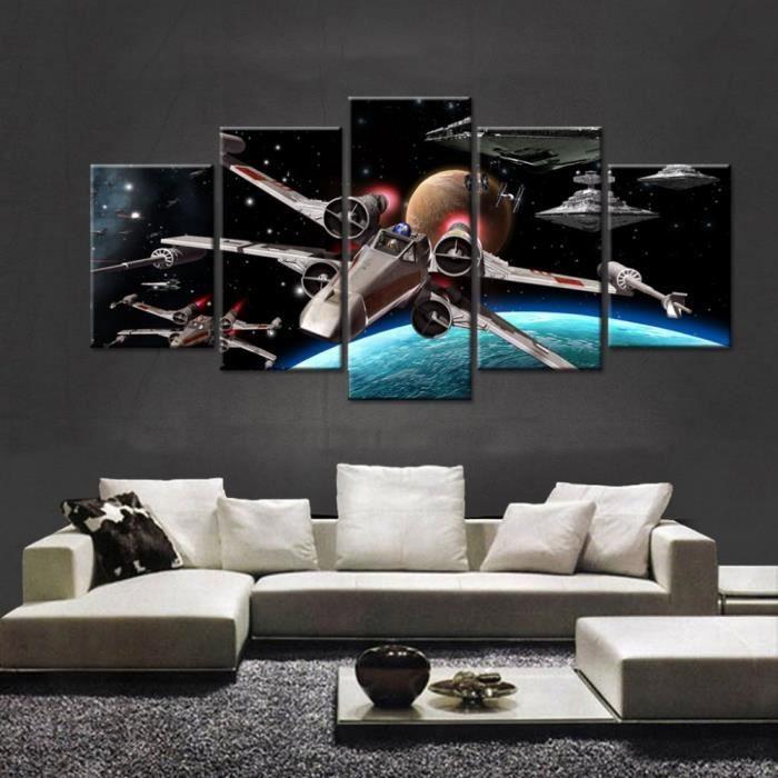 TABLEAU - TOILE 5 Pièce Star Wars Death Star Fighter Affiche Peint