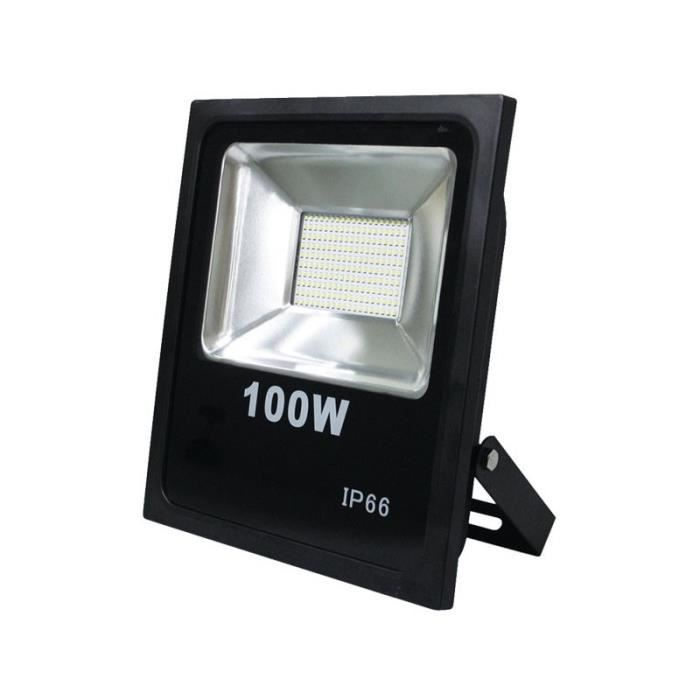Projecteur led 100w 8000 lumens ip66 ultra blanc 6000k for Projecteur led exterieur 100w