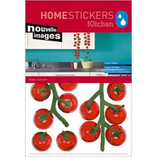 stickers meubles cuisine tomates en grappe achat vente stickers cdiscount. Black Bedroom Furniture Sets. Home Design Ideas