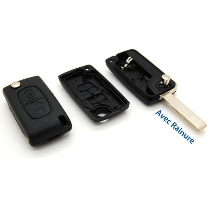 Coque Télécommande plip clé Peugeot  compatible 308 2 bouton CE0536 sans rainure