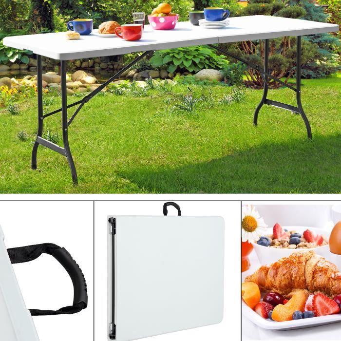 Jardin Camping tables Table pliante robuste /& résistant aux intempéries 180cm long pliable blanc