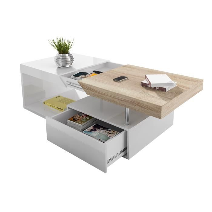 table basse avec rangement coloris blanc laqu et bois achat vente table basse table basse. Black Bedroom Furniture Sets. Home Design Ideas