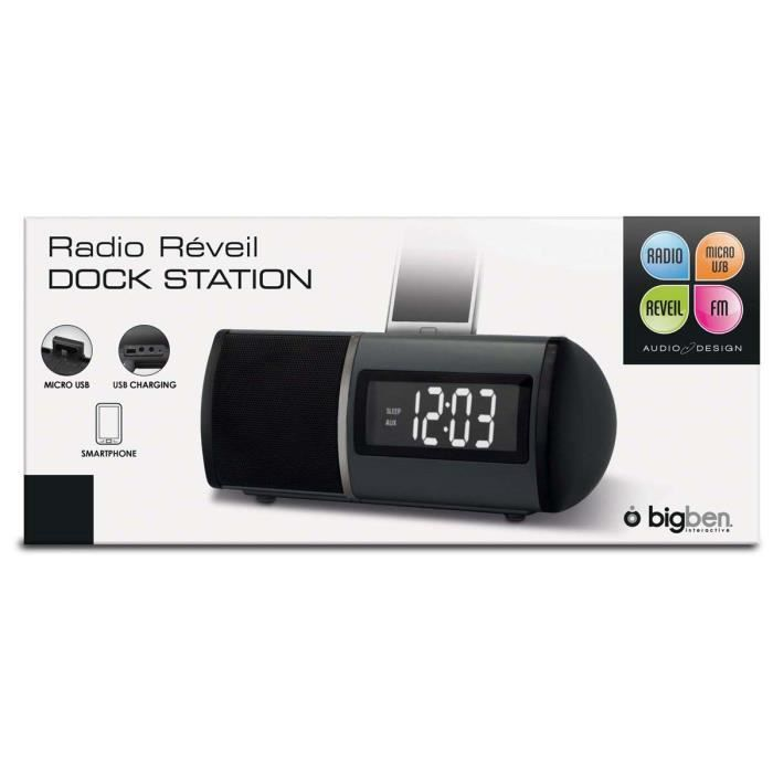 radio reveil dock station noir bigben interactive radio. Black Bedroom Furniture Sets. Home Design Ideas