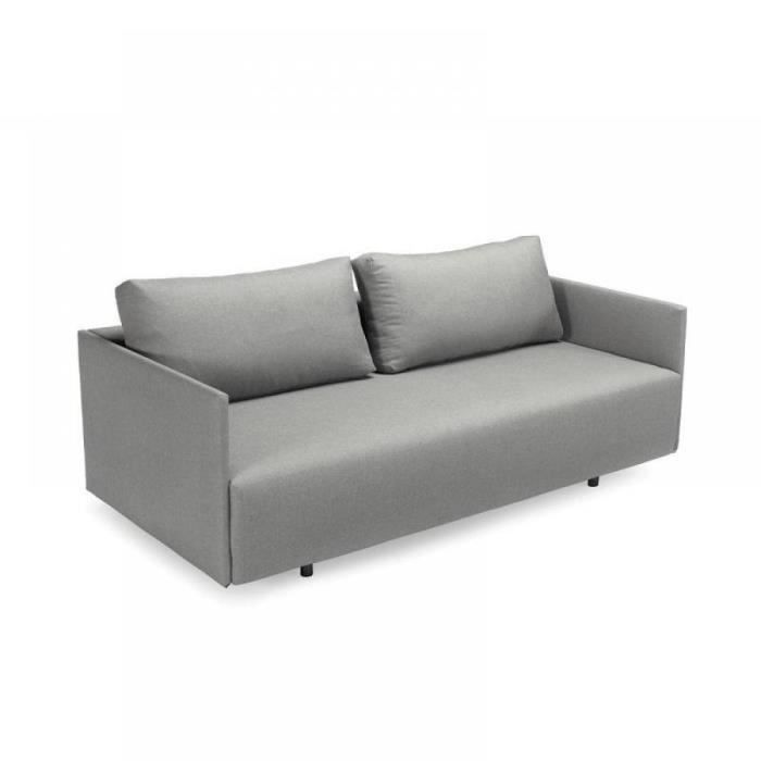 Canape lit design pyx gris convertible 190 140cm achat for Canape lit design