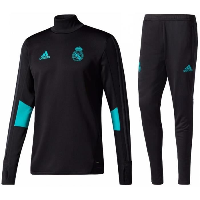 survetement sport adidas foot real madrid 2018 noir noir achat vente surv tement soldes. Black Bedroom Furniture Sets. Home Design Ideas
