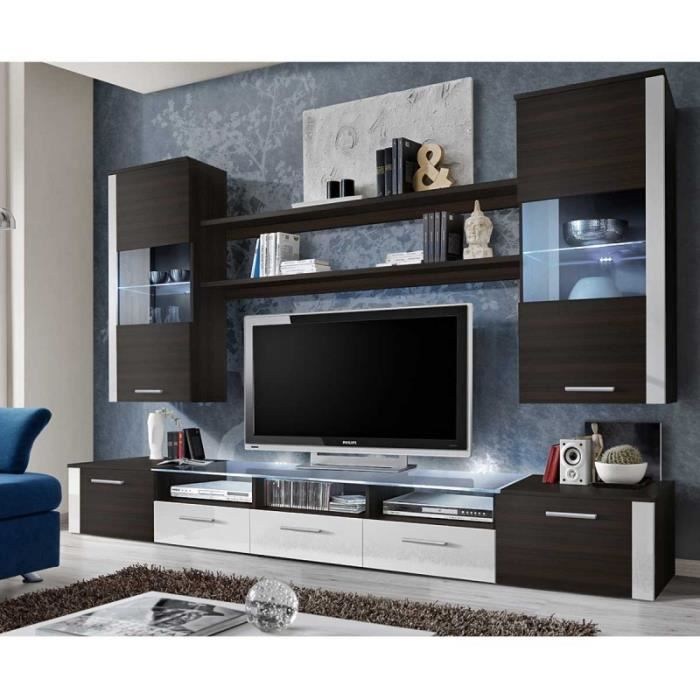paris prix meuble tv mural design fresh 250cm weng blanc marron achat vente meuble tv. Black Bedroom Furniture Sets. Home Design Ideas