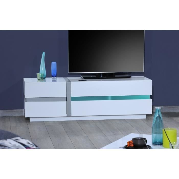 lineance banc tv 150 cm avec clairage led laqu blanc achat vente meuble tv lineance banc. Black Bedroom Furniture Sets. Home Design Ideas