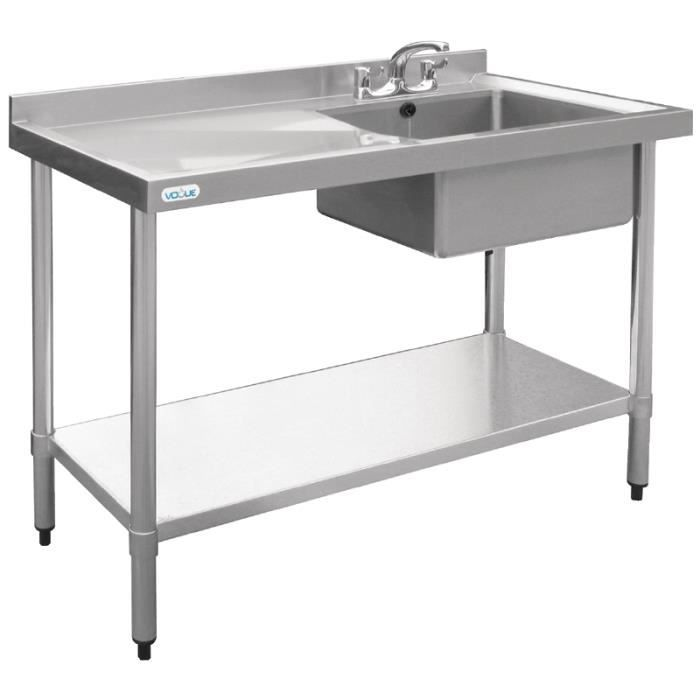 Evier vogue inox 1200 x 600 mm achat vente evier de for Table evier inox professionnel