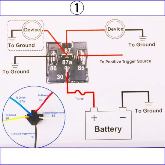 commutateur de charge relais automobile 5 broches CC 12V Relais de voiture 80A 5 broches