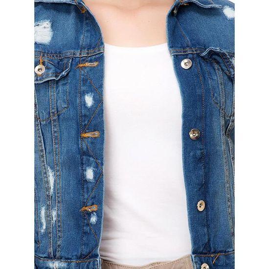 avec de veste VZRW8 Distressed Denim Kttdenimjacket70 femmes 32 Taille Bouton poches Up OXTuPkiwZ