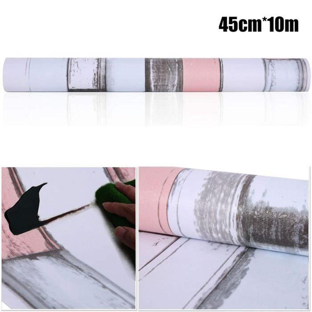 Papier Peint Trompe L Oeil Porte Placard papier peint auto-adhésif trompe l'oeil 45cmx10m bois blanc