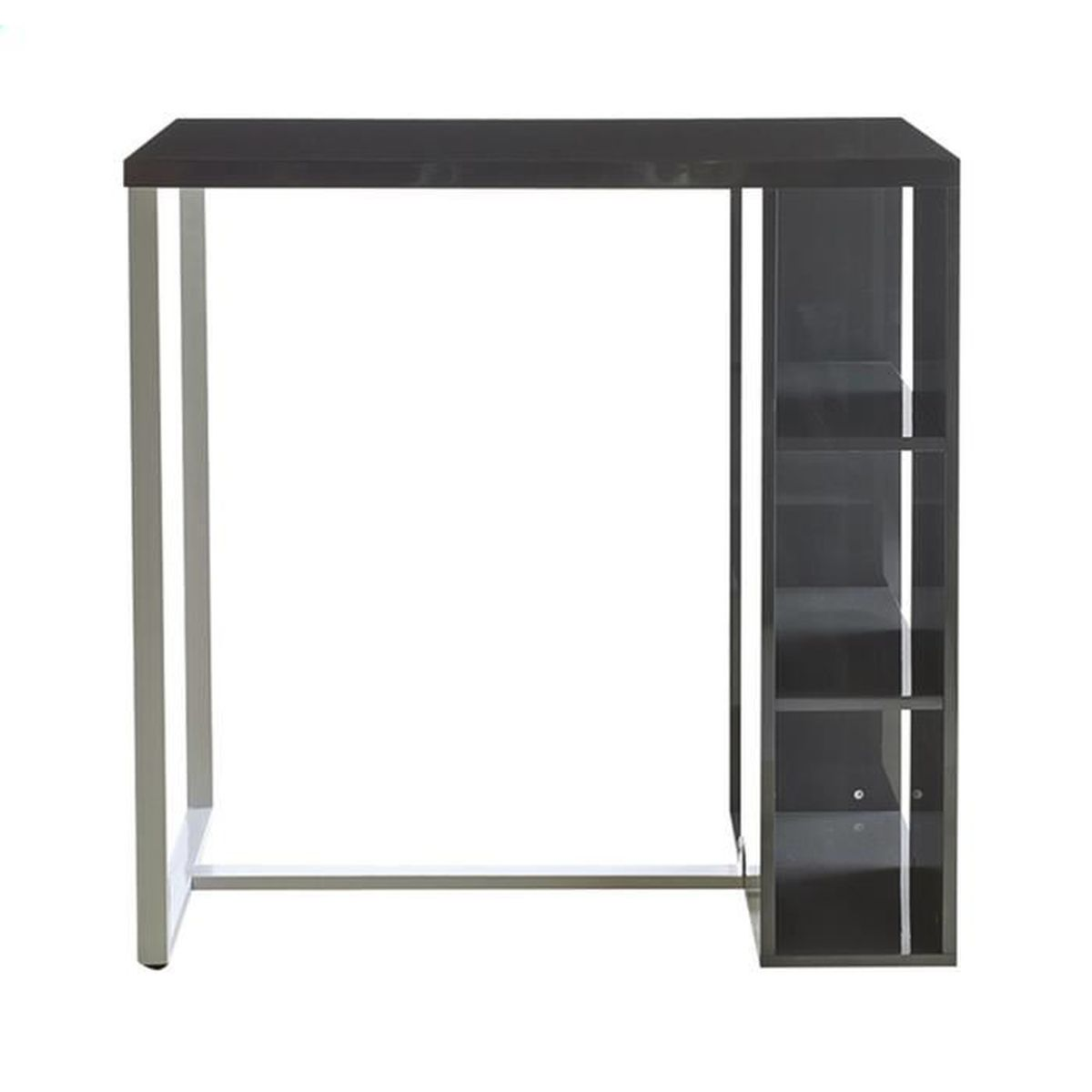 meuble bar 3 niches en mdf m tal blanc et gris dim 104