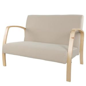 SALON DE JARDIN  Fauteuil rembourré en bois Canapé salon avec 2 pla