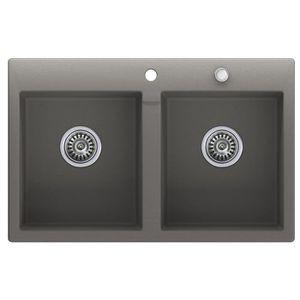 Noir /évier de cuisine 1 bac /Évier granit Primagran avec siphon automatique