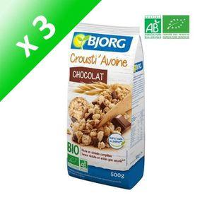 CÉRÉALES PETIT DEJ  BJORG Croustillants Avoine Chocolat Bio 500 g (Lot