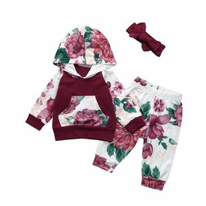 Ensemble de vêtements Toddler Baby Floral Suit vêtements à capuche Blous