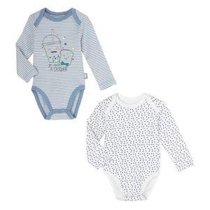 BODY Lot de 2 bodies bébé garçon manches longues Milky