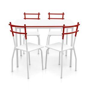 TABLE À MANGER COMPLÈTE IKayaa 5PCS Table à manger avec 4 Chaises Blanc +