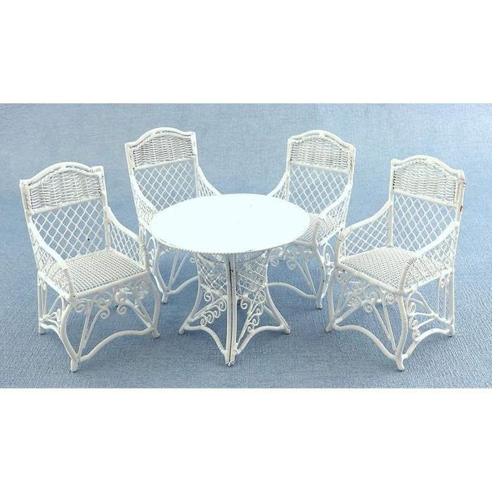 Maison de Poupées Meubles de Jardin Blanc Fer Forgé Patio Ensemble Table 4 Chaises