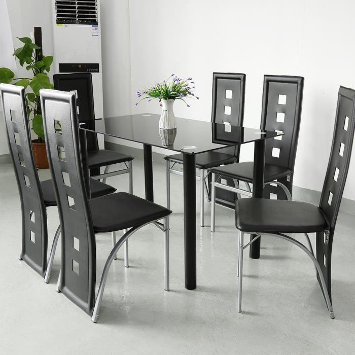 Lot de 6 Chaises de Salle à Manger avec Haut Dossier en Simili Cuir - Design Contemporain - Noir