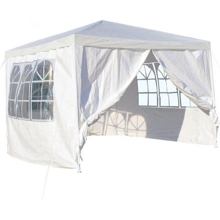 Pavillon 3x3m avec panneaux latéraux amovibles, blanc, pliable, fenêtre - 61802