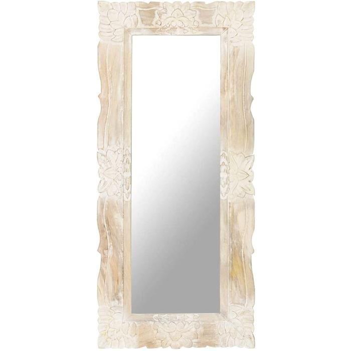 Miroir Mural Design, Miroir Rectangulaire &agrave Accrocher, Miroir Cadre en Bois Blanc 110x50 cm Bois de manguier Massif102