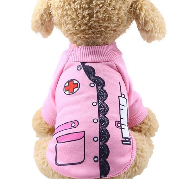 Manteau Blouson,Chaud chien vêtements classique Pet chien vêtements pour petits chiens manteau Costume automne chiot - Type nurse-L