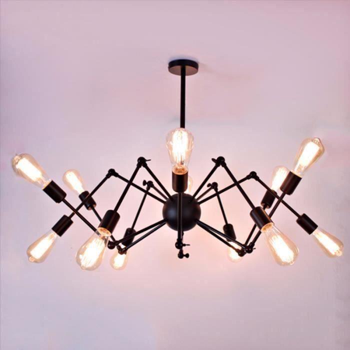 Plafonnier araignée Lustre LED Lampe Industrielle 12 Tête Sans ampoule La66129