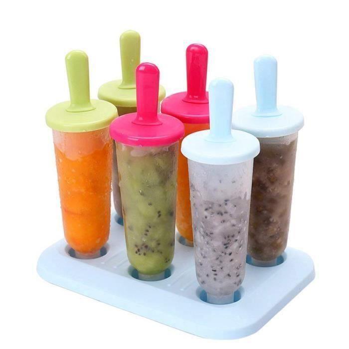 Moules à Glace, Moules Popsicle Moules à Glaces DIY Frozen Ice Cream Pop Maker Plastique Ice Pop Molds, 6 Pcs, Couleurs Mélangées