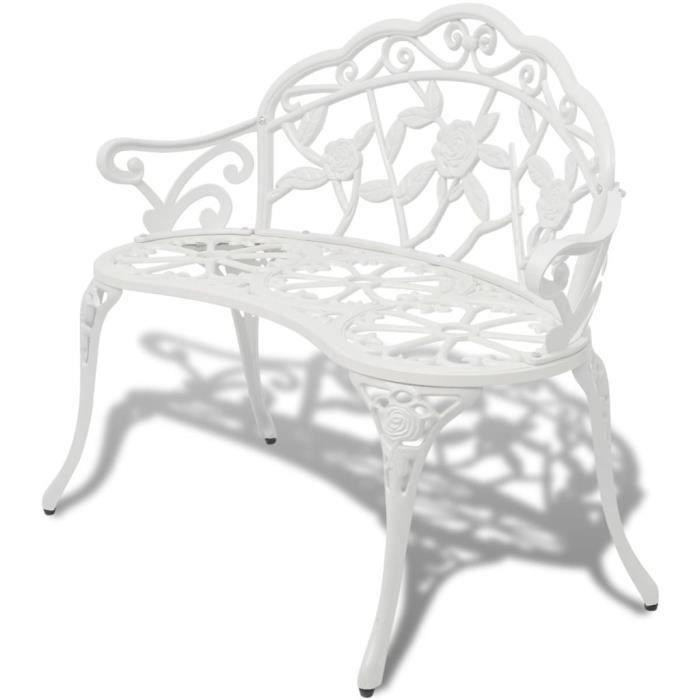 Luxueux Magnifique Banc de jardin terrasse style contemporain 100 cm Aluminium coulé Blanc