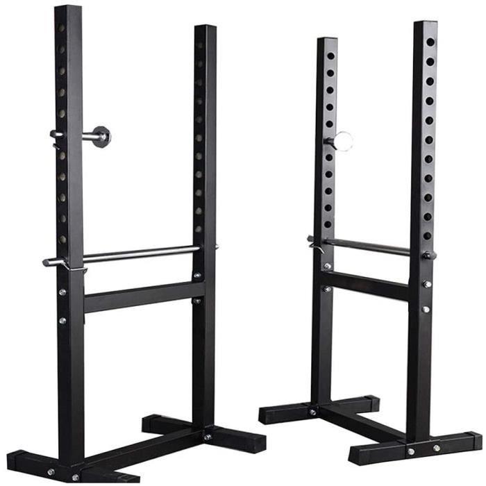 BANC DE MUSCULATION Cages de squat Barre de Traction Porte-halt&egraveres Fendu Banc de Fitness pour Homme Stand de Musculati321