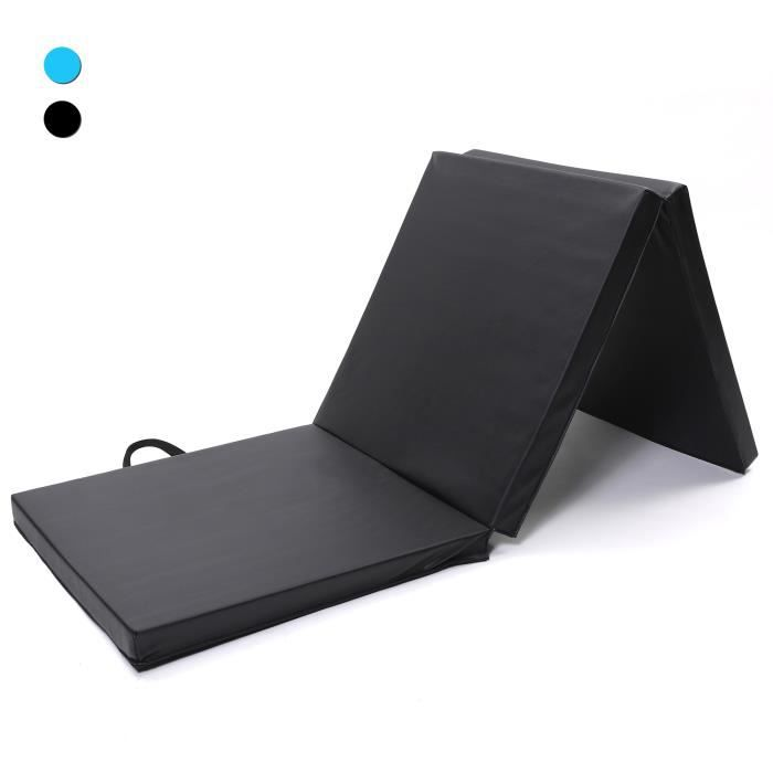 ISE Tapis de gymnastique pliable Tapis de Sol 180 x 60 x 5 cm, Matelas de Gym Épais et Pliable pour la Maison Noir