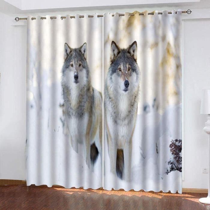 Rideaux Occultants Thermiques Scène de Neige Hiver Loup Animal pour Salon et Chambre Insonorisation Lot de 2 Panneaux-100x140cm[224]