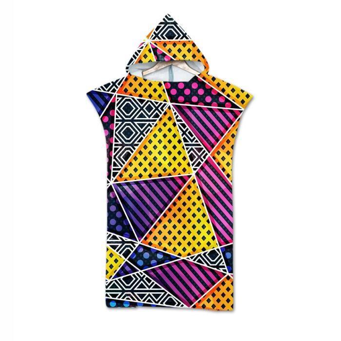 Serviette de bain,Adulte plage costume changement Robes Poncho capuche serviette de plage géométrique imprimé - Type Bourgogne