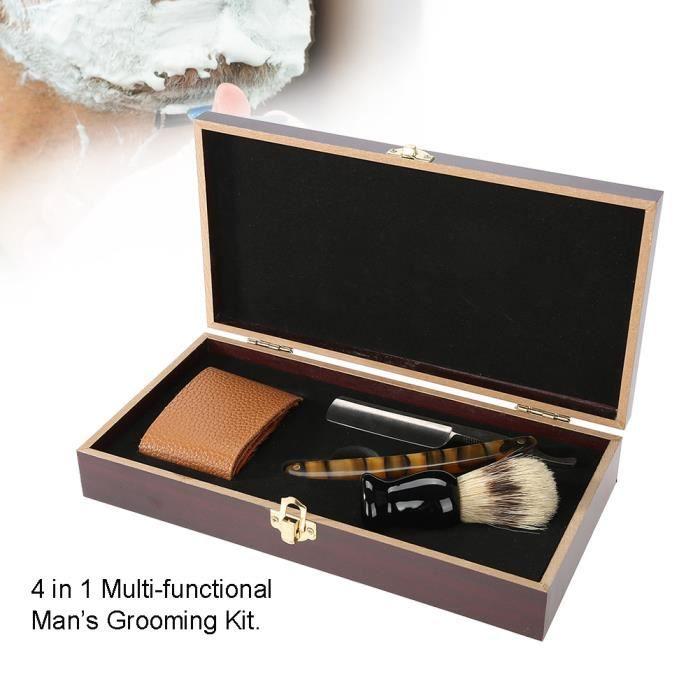 Sonew Set de rasage Kit de rasage de barbier rasoir manuel droit brosse de rasage affûtage boîte en bois Strop