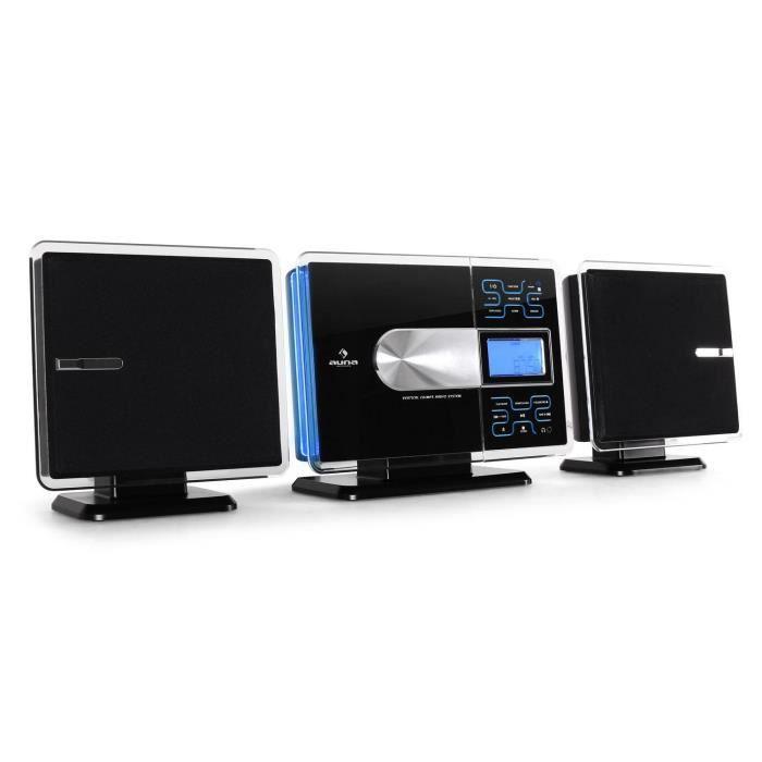 auna VCP-191 - Chaine Stéréo design avec lecteur MP3 CD USB SD et tuner FM - fonction réveil - Noir