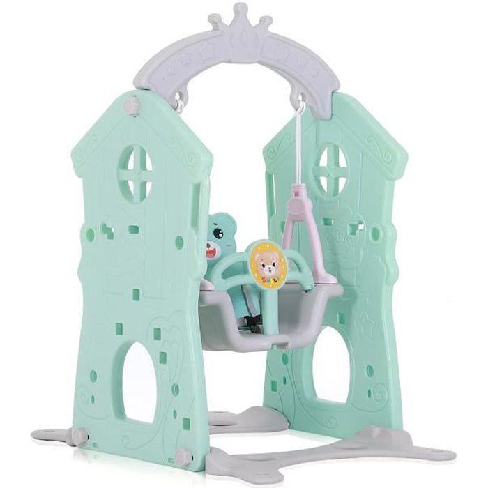 Baby Vivo Balançoires pour les Enfants / Aire de Jeux l'intérieur et à l'exterieur - Turquoise/Gris