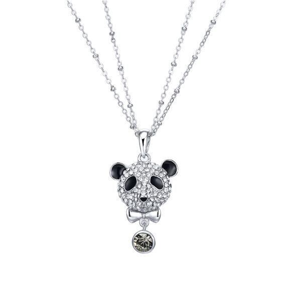 Pendentif Panda en Cristal Swarovski Elements Blanc et Black Diamond