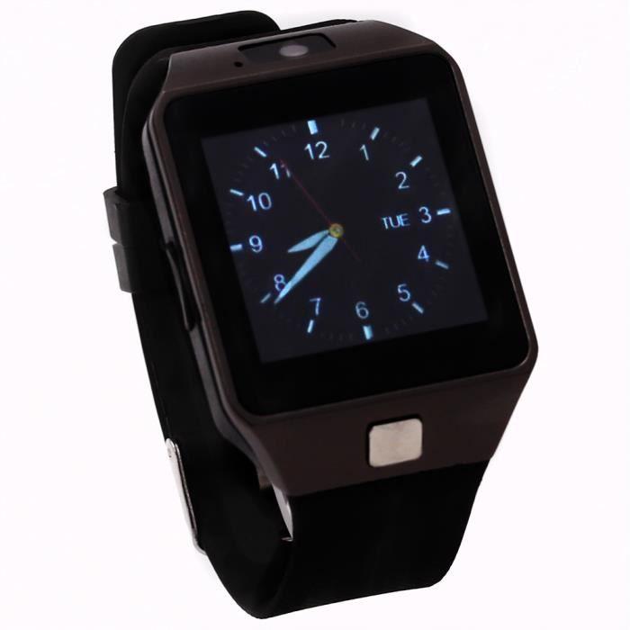 CEKA TECH® Montre connectée, Bluetooth Smart Watch avec Caméra Écran Incurvé Tactile Support SIM/TF Card Podomètre Sommeil