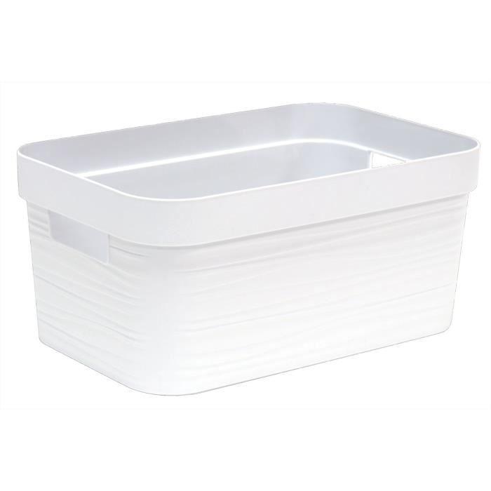 EDA PLASTIQUE Boîte de rangement - 6 L - Décor Stone - Dimensions : 29,2 x 18,8 x 13,2 cm - Blanc Cérusé