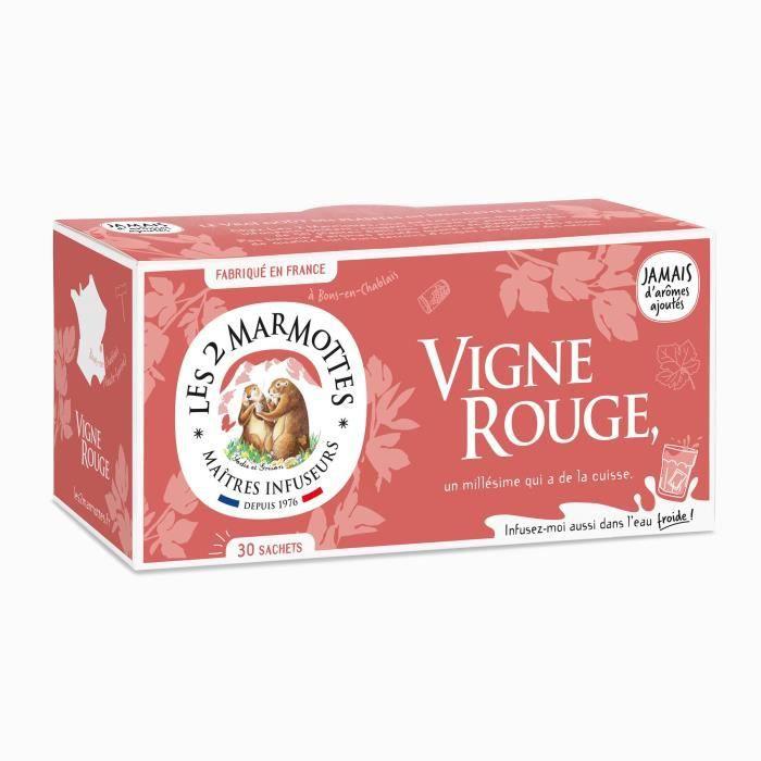 Les 2 Marmottes - Infusion BIO Vigne rouge 30 sachets - bienfaisant et végétal - Sans arômes ajoutés