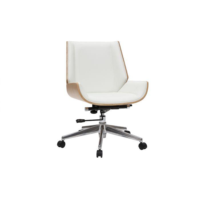 Miliboo - Fauteuil de bureau design bois clair et blanc