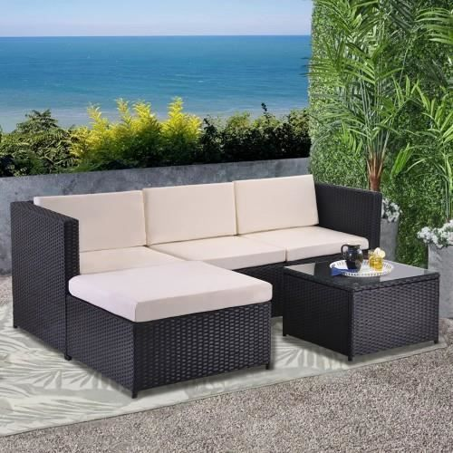 Canapé de salon canapé d'angle, ensemble de canapé avec coussins d'assise et de dossier, table de salon avec plateau en verre, noir