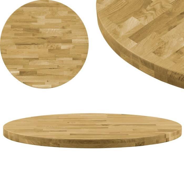 600 mm Dessus de table Bois de chêne massif Rond 44 mm