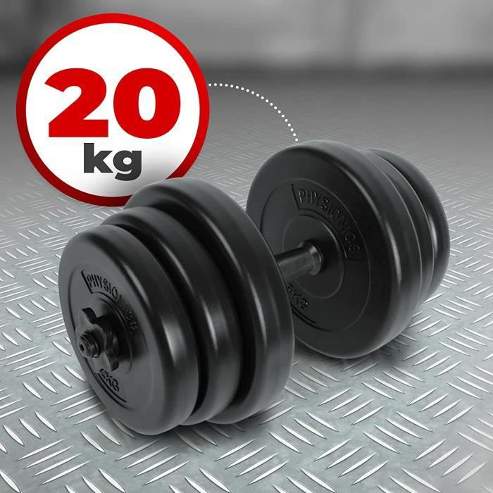 Physionics® Haltère Court - 20 kg, 6 Disques, Barre Courte Ø 25 mm en Acier et 2 Fermoirs en Forme d'Étoile - Disques pour Fitness